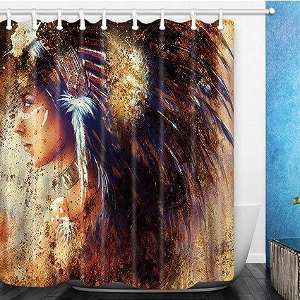 Feierman Indian Maiden Shower Curtain Decor Wild Hunter Girl Bathroom Machine Washable Mildew Resistant With