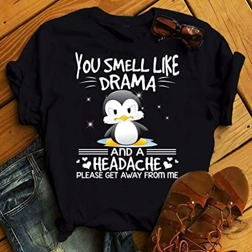 80d52d44a Amazon.com: Penguin Smell Like Drama And A Headache Please Get Away From Me  T-Shirt Sweatshirt Long Sleeve Hoodie: Handmade
