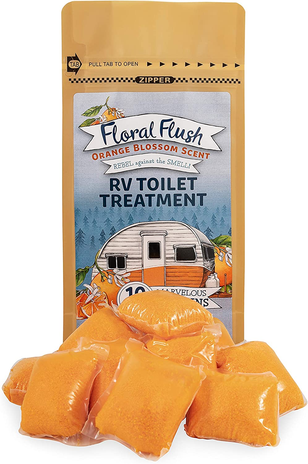 Amazon Com Camco 41491 Floral Flush Rv Toilet Treatment Drop Ins Orange Blossom Scent Eliminates Odors And Breaks Down Waste One Drop In Treats Up To A 40 Gallon Tank 10 Drop Ins Per