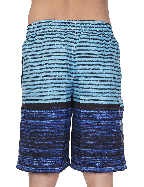 SLTY Mens Beachwear Board Shorts Quick Dry Striped Beach Shorts with Mesh Lining Swim Trunks