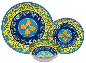 Melange 18-Piece Melamine Dinnerware Set (Naples) | Shatter-Proof and Chip-Resistant Melamine Plates and Bowls | | Dinner Plate, Salad Plate & Soup Bowl (6 Each)