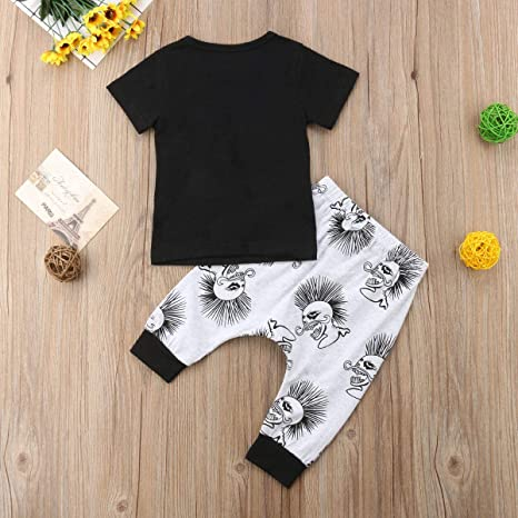 Leesiy Toddler Baby Boy Halloween Costume Black Printed Short Sleeve T-Shirt Top Skull Hip-Hop Long Pant 2PCS Outfits