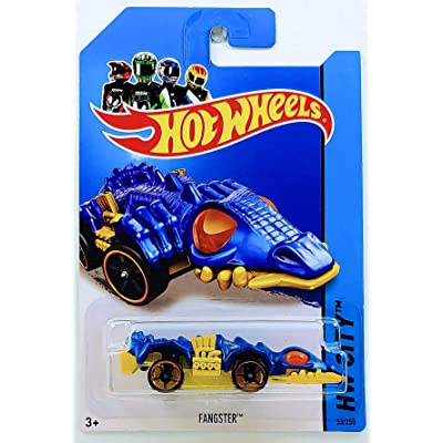 Hot Wheels 2014 Int'l Card Treasure Hunt FANGSTER 53/250 HW City Street Beasts Series Blue Die Cast Collector Vehicle: Toys & Games