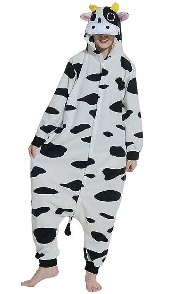 Fandecie Pijama Vaca Lechera, Onesie Modelo Animales para adulto entre 1,60 y 1