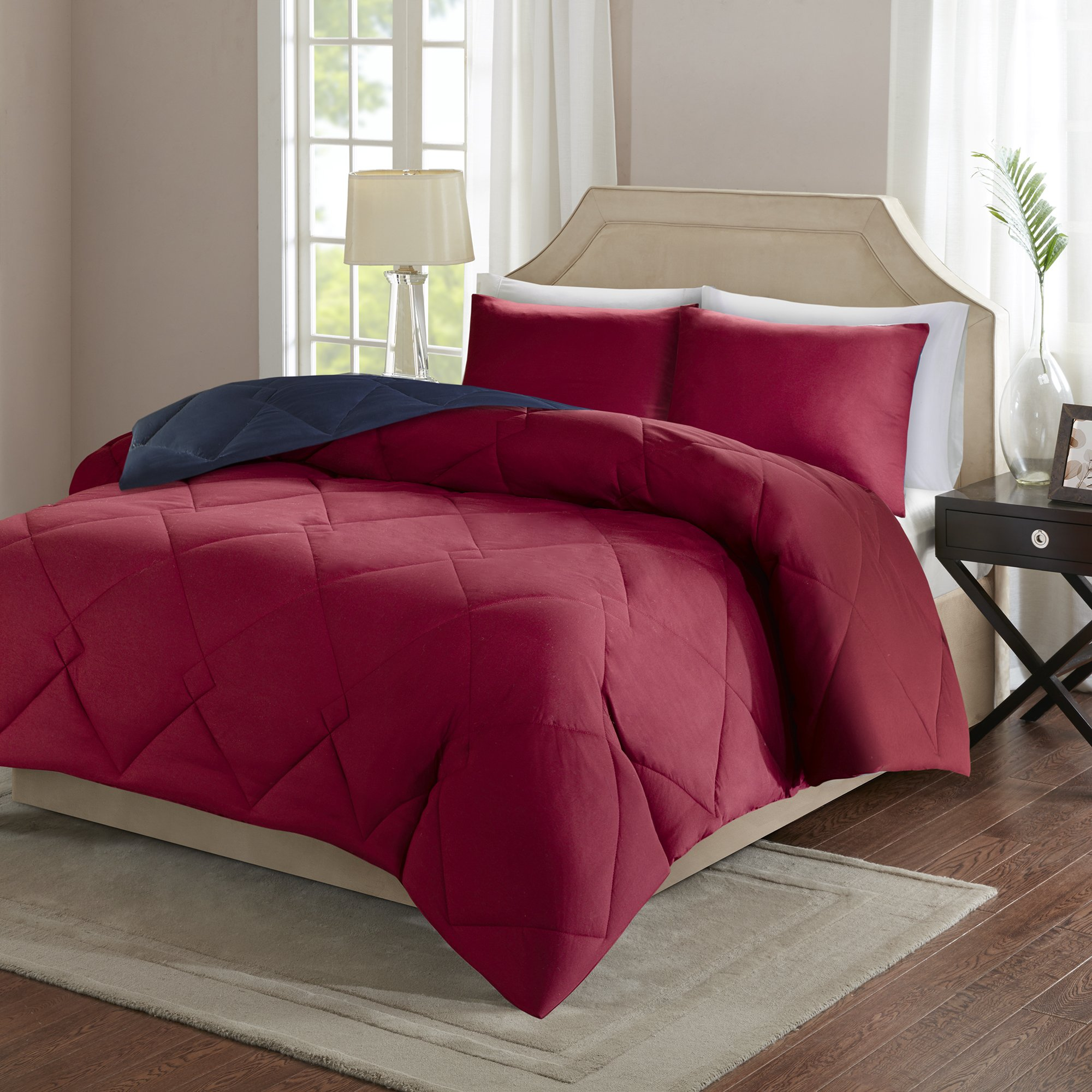 Comfort Spaces – Vixie Reversible Goose Down Alternative Comforter Mini Set - 2 Piece – Red and Navy – Stitched Geometrical Diamond Pattern – Twin/Twin XL size, includes 1 Comforter, 1 Sham by Comfort Spaces