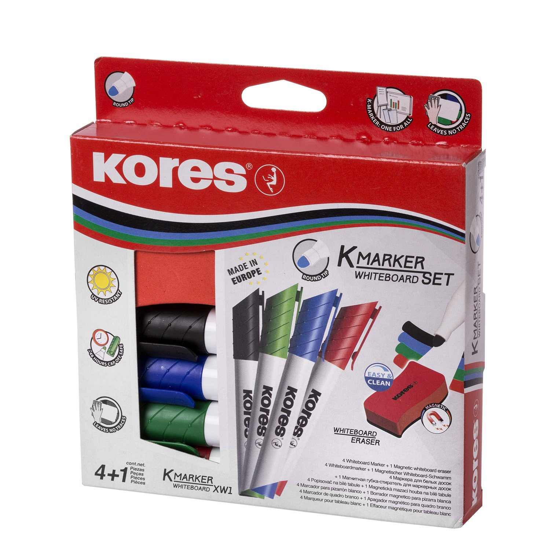 Kores - Set di 4 pennarelli per lavagna magnetica, punta rotonda di 3 mm, colore nero/blu/rosso/verde 20863