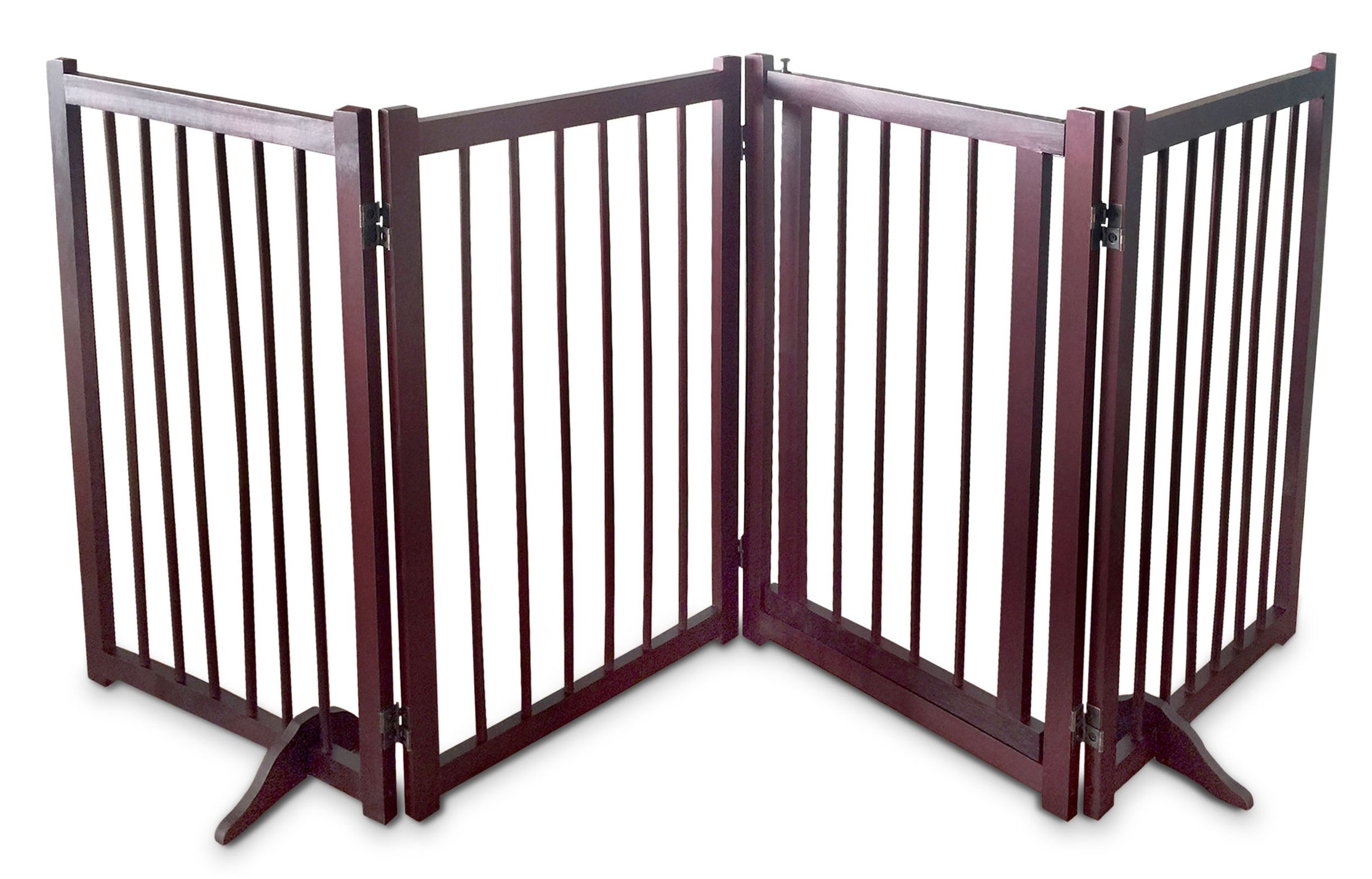 Dog Gate Pet Fence Barrier - Large 80'' W x 30'' H Portable Collapsible Folding Wooden Panels Doggie Puppy Fencing Enclosure System -Free Standing With Walk Thru Latch Lock Doggy Door Perfect Life Ideas