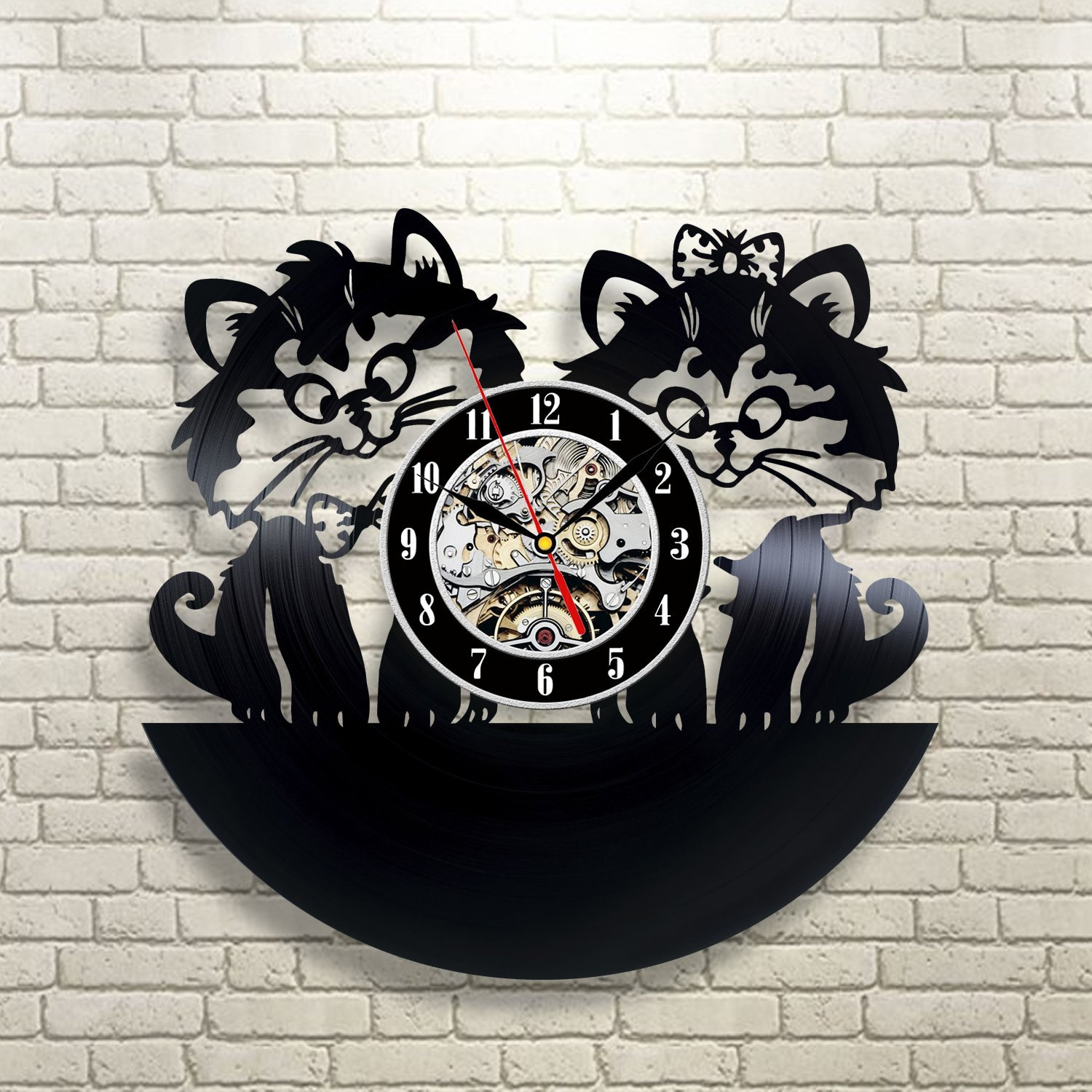 Amazon cute cats love vinyl record wall clock decorate your amazon cute cats love vinyl record wall clock decorate your home with modern art gift for kids girls and boys win a prize for a feedback home amipublicfo Choice Image