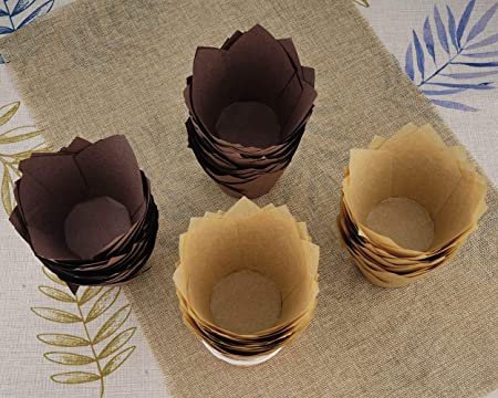 Amazon.com: Gifbera Natural and Brown Tulip Cupcake Liners Medium Baking Cups, 100-Count, 50 Per Color: Kitchen & Dining