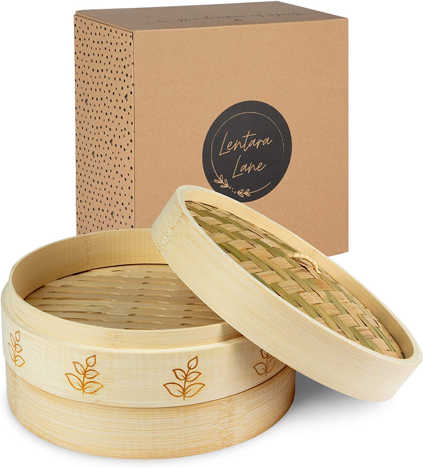 Bamboo Steamer 10 Inch | Premium 2 Tier Dumpling Steamer & Lid | Steamer basket perfect as a Chinese Dim Sum, Bao Bun, Momo, Rice & Vegetable Steamer | Steam Cooking for Healthy Food (Leaf)