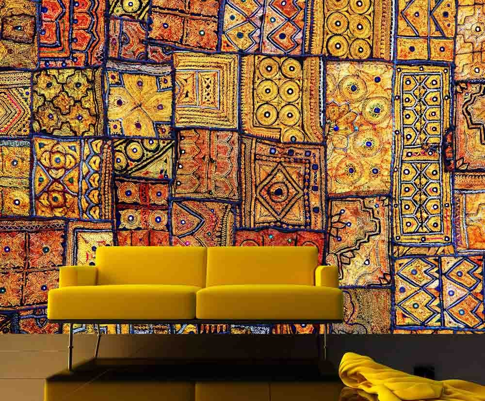 12 Feet wide by 9 Feet high. Prepasted wallpaper mural from a photo of: Indian Patchwork Carpet. Our murals are easy to install remove and reuse (hang again) If you watch and do as in our video by Muralunique (Image #2)