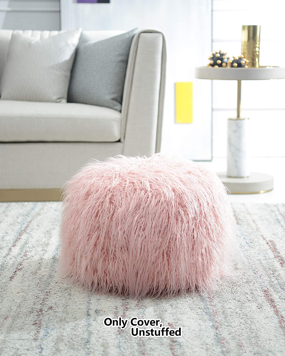 Comfortland Unstuffed Ottoman Pouf Covers, Small Faux Fur Foot Stool, 20x12 Inches Round Poof Seat, Floor Bean Bag Chair,Foot Rest Storage Solutions for Living Room, Bedroom, Kids Room Pink