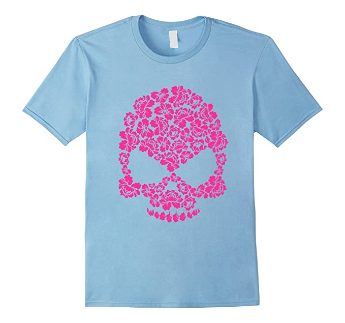Amazon pink flower skull all souls day dia de los muertos t mens pink flower skull all souls day dia de los muertos t shirt 2xl mightylinksfo