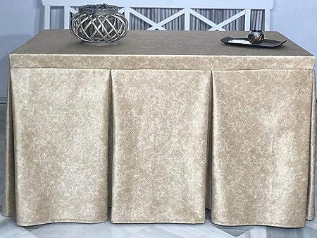 INUSUAL Falda o Ropa de Camilla Rectangular Invierno 120X70X72 Modelo IBI, Textura Suave Satinado Efecto mármol (Oro): Amazon.es: Hogar