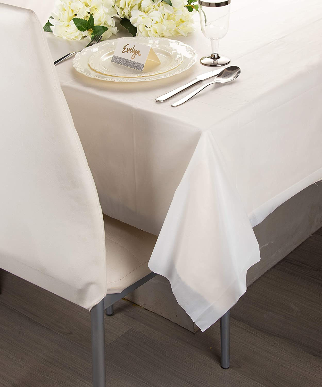 Party Decoration Supplies 12-Pack Buffet Banquets or Long Picnic Tables White Plastic Tablecloths 4.5 x 54 x 108 Inches Table Cloths Rectangular Disposable Table Covers Fits up to 8-Foot Long