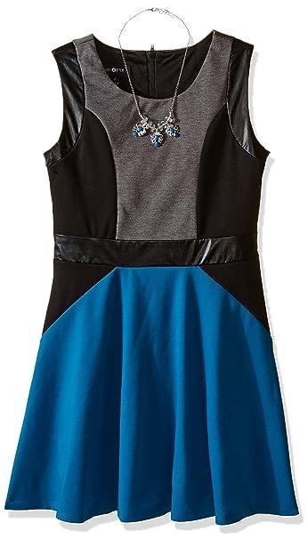 Amy Byer Girls Big Sleeveless Ponte with Pleather Dress
