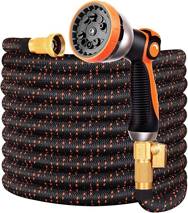 75FT Expandable Garden Hose, No-Kink Flexible Water Hose, 3/4 Inch Solid Brass Fittings, 9-Function Spray Nozzle