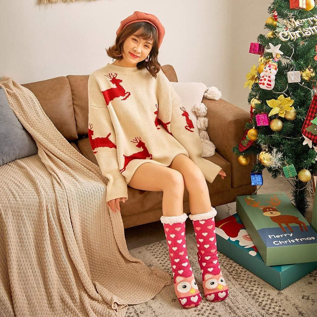 Sannysis Weihnachtssocken H/üttensocken Warme Hausschuhe Socken Str/ümpfe Teddyfell Kuschelsocken Damen Winter Warme Stoppersocken Weihnachten mit ABS Rutschfest
