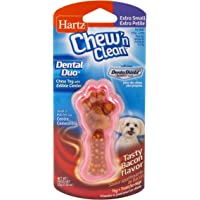 Hartz Chew 'n Clean Dental Duo Bacon Flavored Dental Dog Chew Toy and Treat - Extra Small