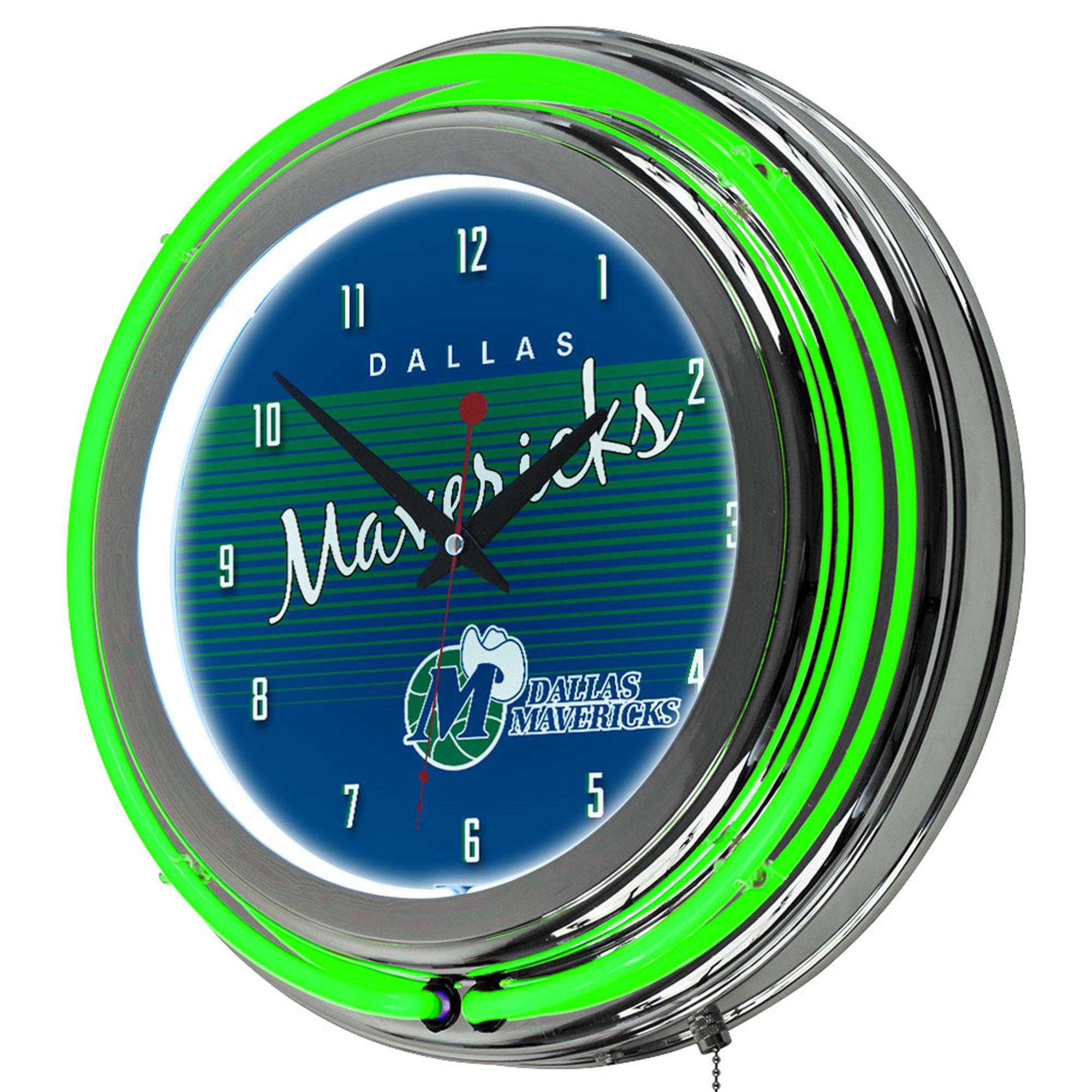 Trademark Global NBA Dallas Mavericks Chrome Neon Clock, One Size, Chrome