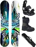 AIRTRACKS Snowboard Komplett Set / PLACES Wide Flat Rocker + Snowboard Bindung Star + Snowboardboots + Sb Bag / 156 159 165 cm