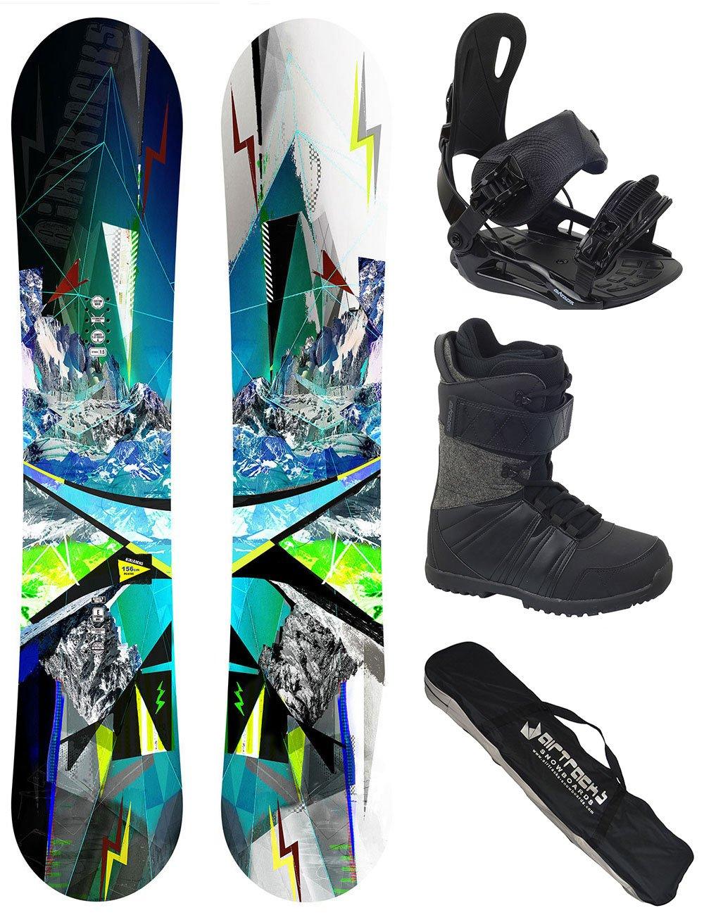 Snowboardboots AIRTRACKS Snowboard Set//Board Places Wide Flat Rocker Sb Bag // 156 159 165 cm Snowboard Binding Star