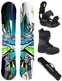 AIRTRACKS Snowboard Set / Board Places Wide Flat Rocker + Snowboard Binding Star + Snowboardboots + Sb Bag / 156 159 165 cm