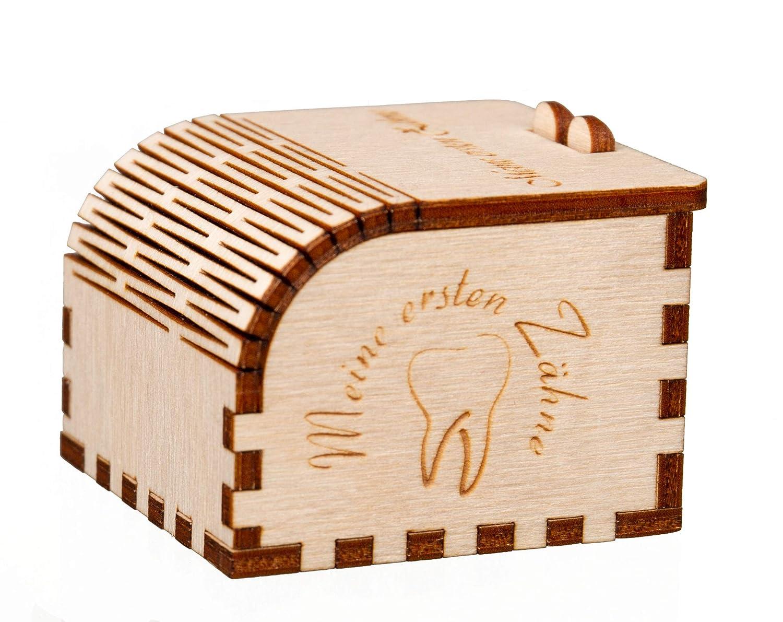 Bambus-Furnier Zahndose mit GravurMeine ersten Z/ähne Milchzahndose Zahnbox mit Namen eingraviert