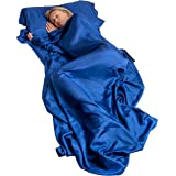 EXTRA WIDE AND LONG 100% PURE Mulberry SILK sheet Sleep more comfortably with this lightweight breathable single sleeping bag liner travel sack camping sheet with in built pillow case
