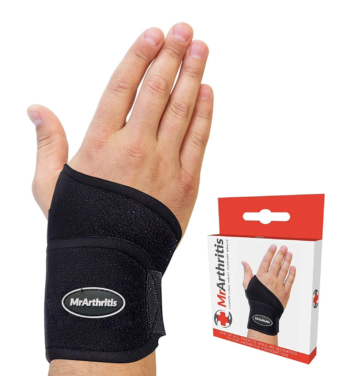 Doctor Developed Wrist Support | Copper Lined Brace with adjustable Strap - Doctor Handbook | Compression Wrist Brace for Arthritis, Carpal Tunnel, Treat Joint Pain | Hand Support to Prevent Sports Injury: Industrial & Scientific