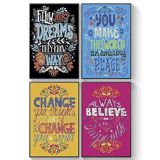 Carteles motivacionales compartibles, regalo de amistad inusual para aumentar la positividad, juego de 4 – A3 grandes impresiones, inspiradoras citas ...