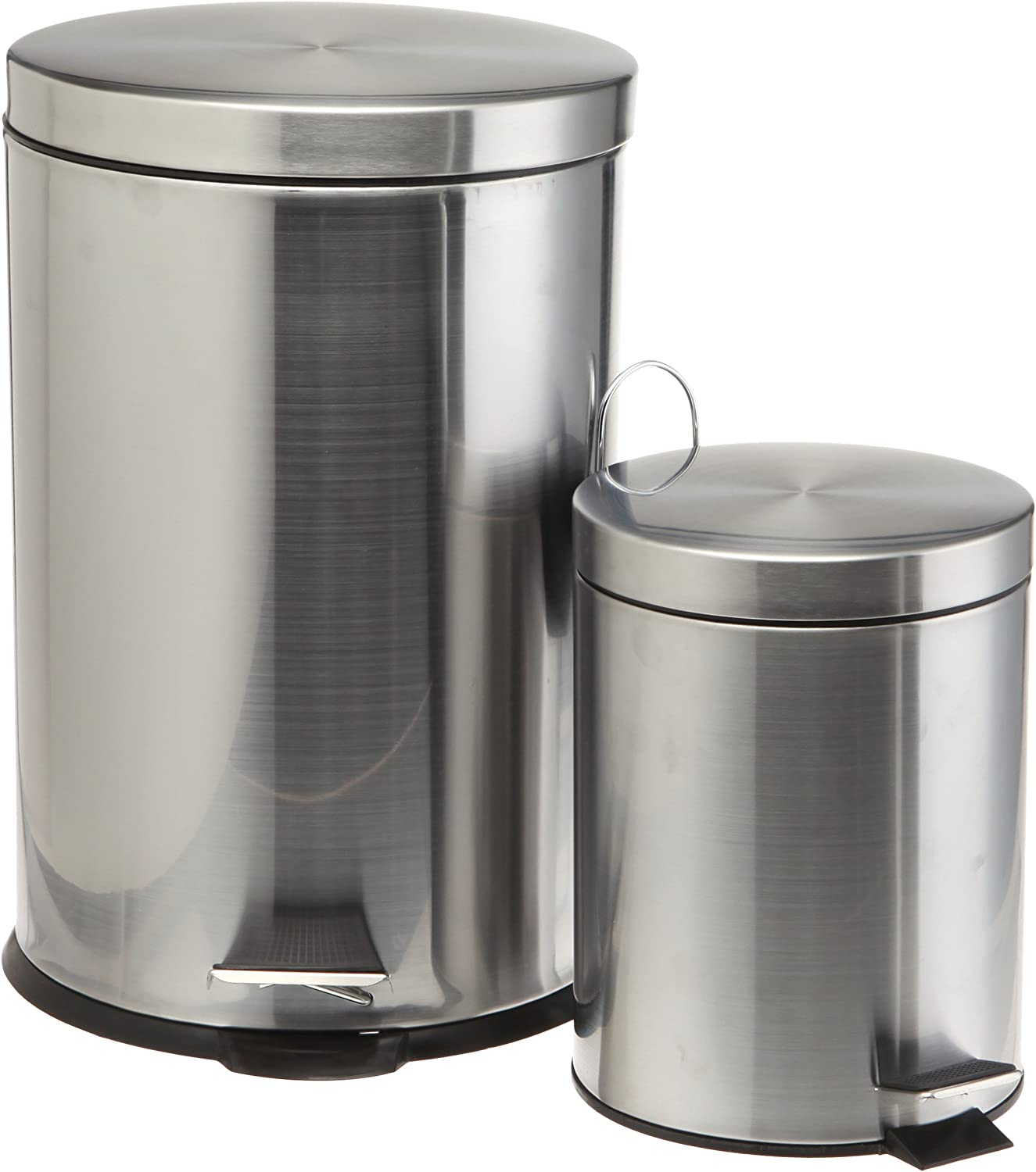 Geneva Home Fashion 1.3 Gallon Brushed Stainless Steel 5-Liter Rectangle Step Trash Cans