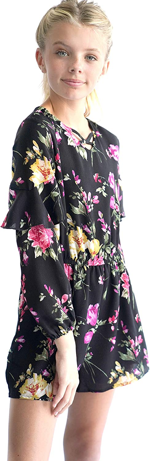 Big Girls Gorgeous Floral Printed Long Sleeves Romper with Pockets 7-16 with Options Smukke