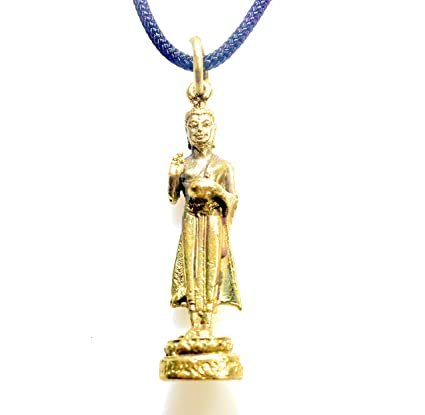949944671eb9 Vintage Circa Standing Buddha Necklace - Handcrafted Bronze Pendant Jewelry  from Thailand - Thai Buddhism Medallion