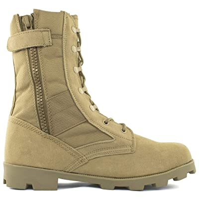"""Bufferzone Men's 9"""" Tan Military Tactical Boot with Zipper: Shoes"""