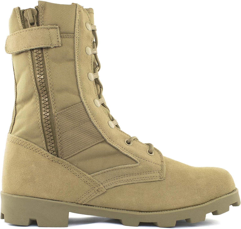 "Bufferzone Men's 9"" Tan Military Tactical Boot with Zipper"