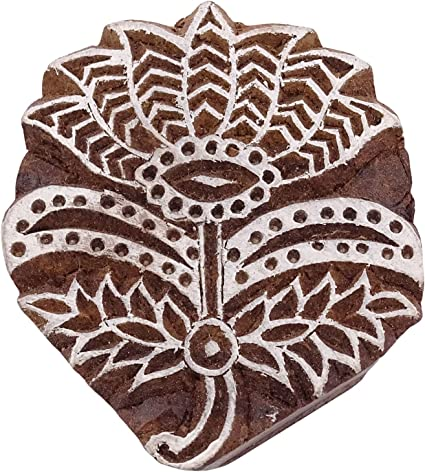 Fabric Textile Wooden Printing Block Decorative Floral Pattern Printing Blocks Indian Handcrafted Stamp Hand Carved Wooden Block