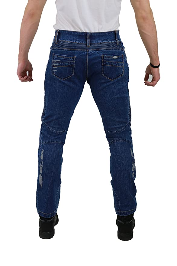 Nerve Ranger Jeans Pantalones Vaqueros de Moto, Azul, XXL