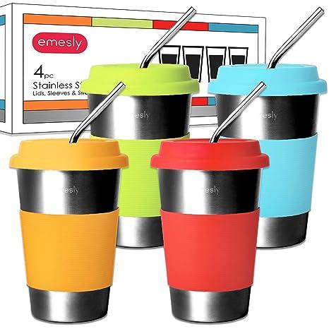 Amazon.com: Vasos Emesly de acero inoxidable con tapas ...