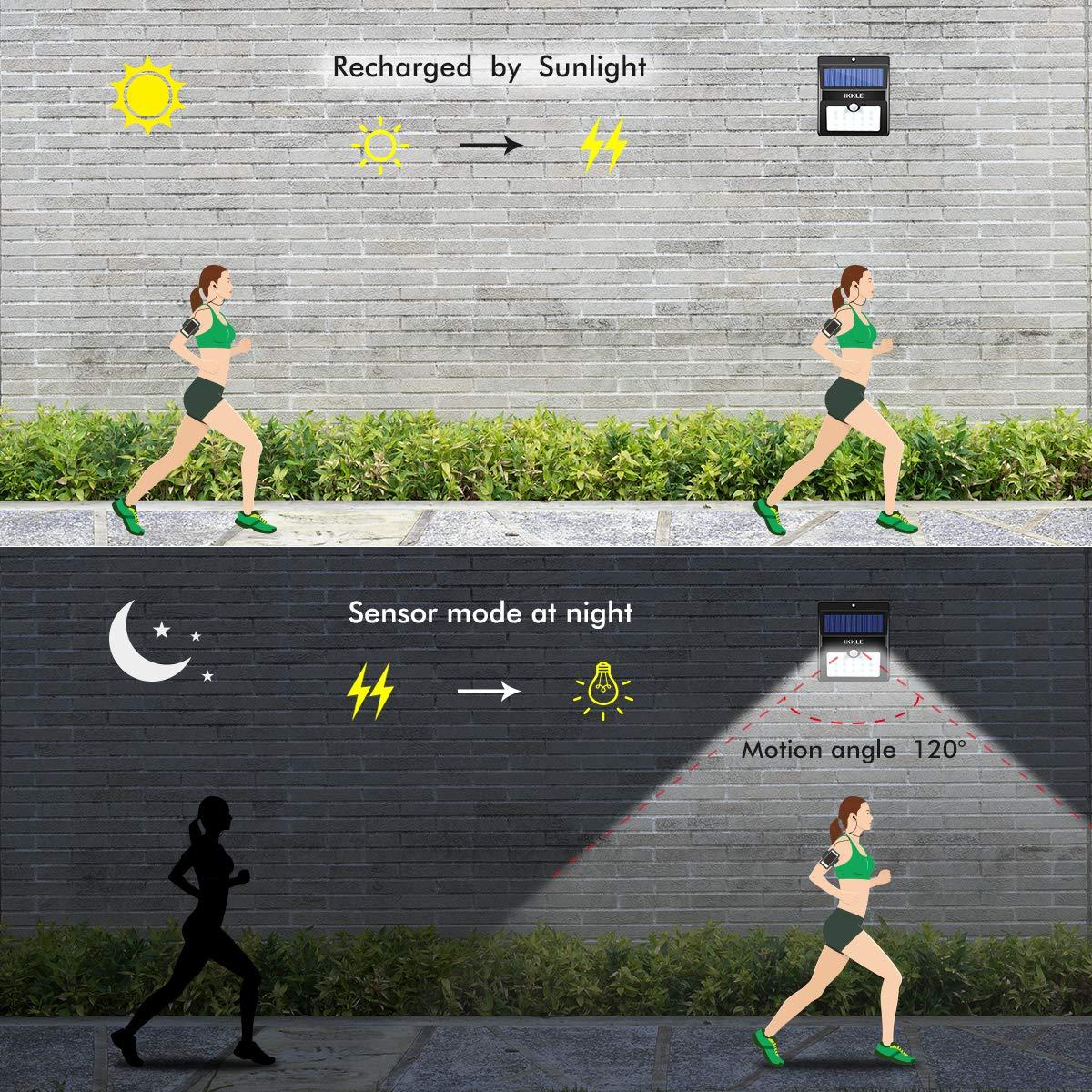 Deck 4 Pack Solar Lights 22 LED Motion Sensor Lights Garden IKKLE Waterproof Outdoor Light for Patio Yard