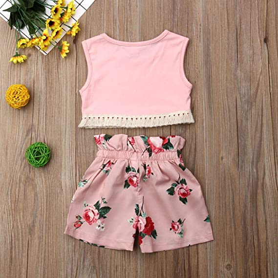 Kids Baby Girls Tassels Sleeveless Tank Tops and Shorts 2PCS Crop Tops Short Baby Girl Clothes