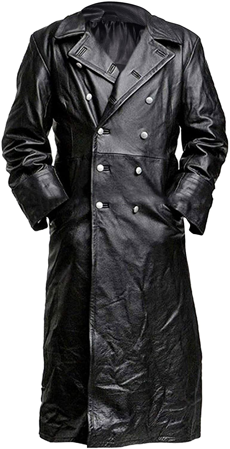 German Classic WW2 Military Officer Black Leather Trench Coat for Men