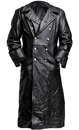 German Classic Officer WW2 Military Uniform Black Leather Trench Coat bd66e70f49e