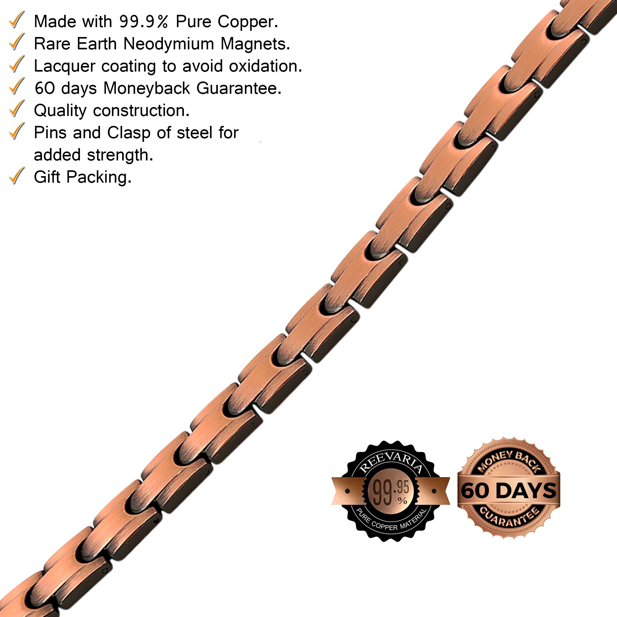 Reevaria Mens Elegant Guaranteed 99.9% Pure Copper Magnetic Therapy Bracelet Pain Relief Arthritis Carpal Tunnel, 3500 Gauss Links by Reevaria (Image #6)
