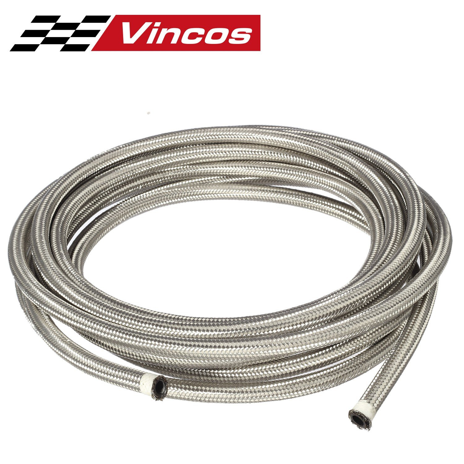 25 Ft 6AN AN6 (3/8'') Universal Braided Stainless Steel CPE Oil Fuel Gas Line Hose by Vincos