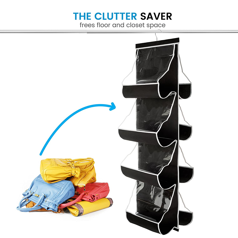 Hanging Purse Organizer Nonwoven Handbag Organizer 8 Clear Vinyl Pockets