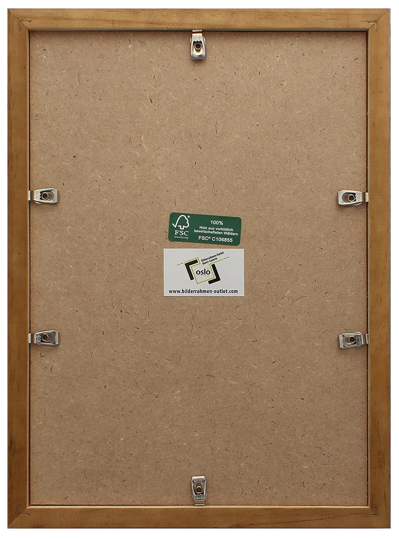 Amazon.de: OSLO MasterLine Bilderrahmen 21x30 DIN A4 braun massiv ...