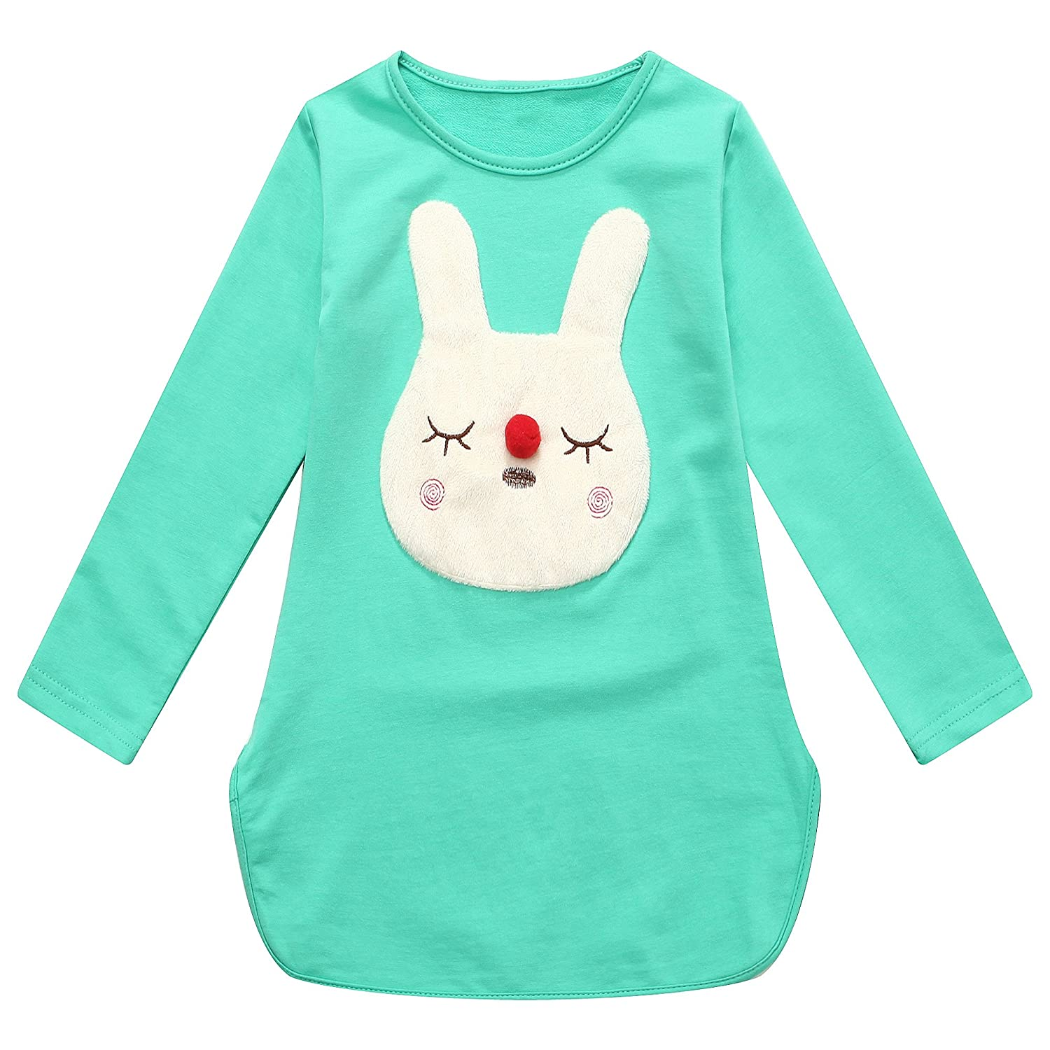 Richie House Girls Green Bunny Applique Long Sleeved Top 2-10 RH1429