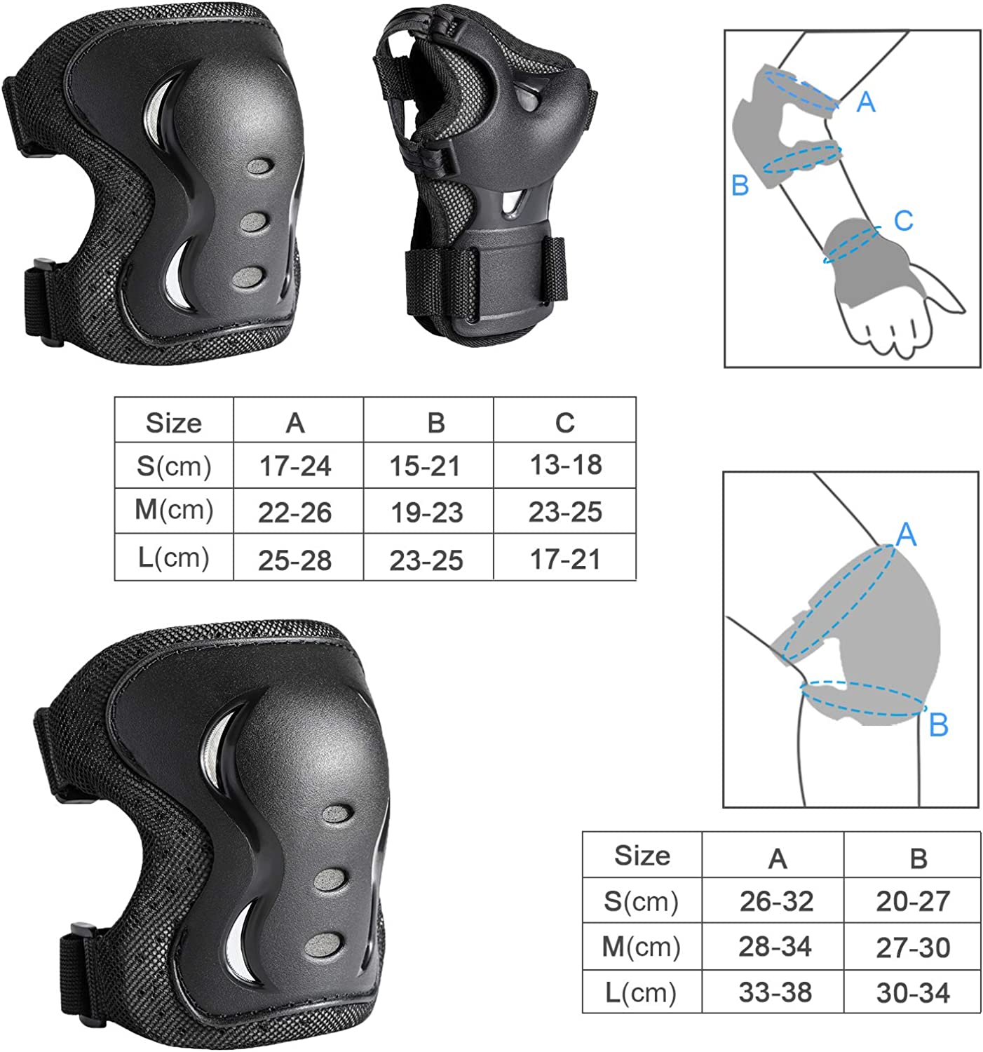 Knee Pads for Kids dirt bike POMELOLEAVE Knee and Elbow pads for kids and teen Protective Gear 6 in 1 Set for Inline Skating 9-12 age Medium Rollerblades Skateboard Longboarding Pink