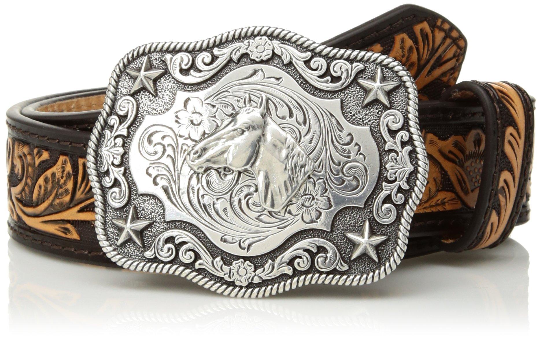 M&F Western Boy's Floral Embossed Horsehead Buckle Belt (Little Kids/Big Kids) Brown/Tan 28